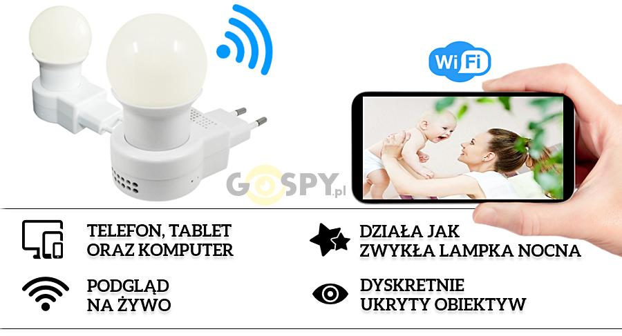 2bffe6d444bbbd Lampka nocna LED z ukrytą kamerą jest to obecnie jedna z najbardziej  dyskretnych kamer dostępnych na rynku, dzięki łączności Wi-Fi zapewnia  możliwość ...